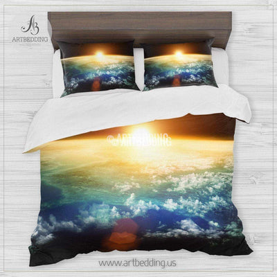 Galaxy bedding set, Sun behind Earth duvet cover set, Cosmos bedroom decor Bedding set