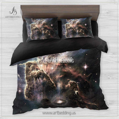 Galaxy bedding set, Towering mountain of hydrogen gas laced with dust, Carina Nebula duvet cover set, Cosmos bedroom decor Bedding set