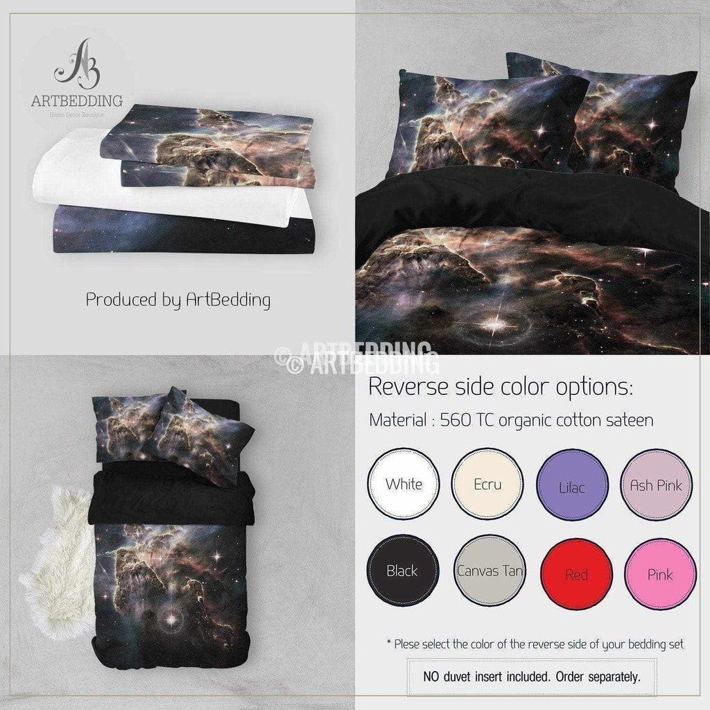 Galaxy Bedding Set Blue Planets In Deep Space Duvet Cover Set Stars