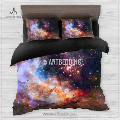 Galaxy bedding, Star cluster in Milky Way Bedding set, Deep space stars Duvet Cover set, Universe sateen bedding set Bedding set