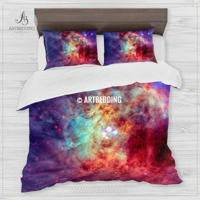 Galaxy in outer space bedding, Abstract space Bedding set, Galaxy print Duvet Cover, 3D galaxy bedding Bedding set