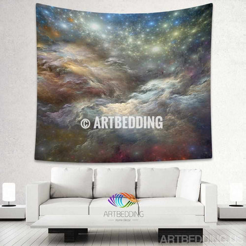 Galaxy Tapestry, 3D Cosmos nebula with stars wall tapestry, Galaxy tapestry wall hanging, Stars galaxy wall tapestries, Galaxy home decor, Space wall art print, Space wall hanging, Multicolor nebula galaxy wall art