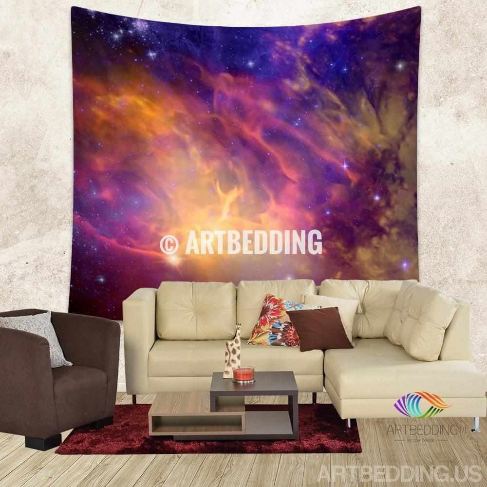 galaxy tapestry 3d cosmos purple nebula with stars wall. Black Bedroom Furniture Sets. Home Design Ideas