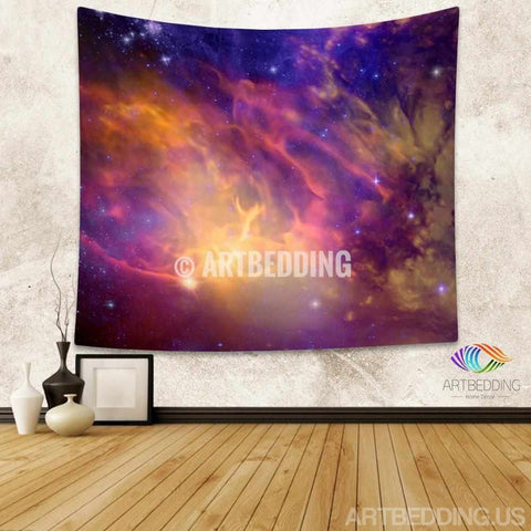 Galaxy Tapestry, 3D Cosmos purple nebula with stars wall tapestry, Galaxy tapestry wall hanging, Stars galaxy wall tapestries, Galaxy home decor, Space wall art print, Space wall hanging, Purple and gold nebula galaxy wall art