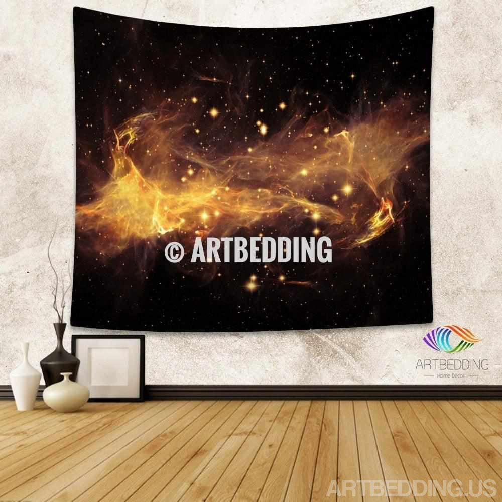 Galaxy Tapestry, 3D golden nebula with stars wall tapestry, Galaxy tapestry wall hanging, Stars galaxy wall tapestries, Galaxy home decor, Space wall art print, Space wall hanging, Space multicolor nebula galaxy wall art