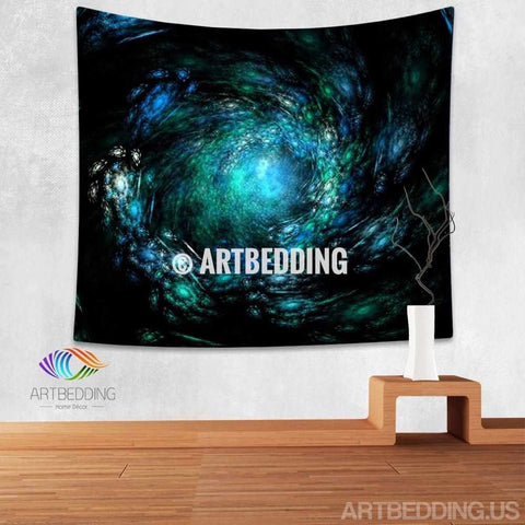 Galaxy Tapestry, Blue 3D fractal art spiral galaxy wall tapestry, Galaxy tapestry wall hanging, Deep space Spiral galaxy wall tapestries, Galaxy home decor, 3D Space wall art print