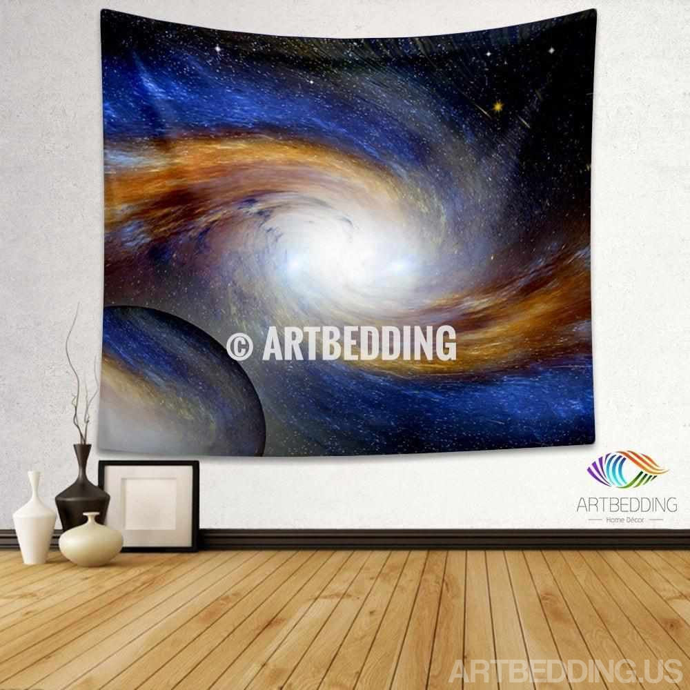Galaxy Tapestry, Blue and gold Spiral galaxy with stars wall tapestry, Galaxy tapestry wall hanging, Blue and gold Spiral galaxy wall tapestries, Galaxy home decor, Space wall art print, stars wall hanging