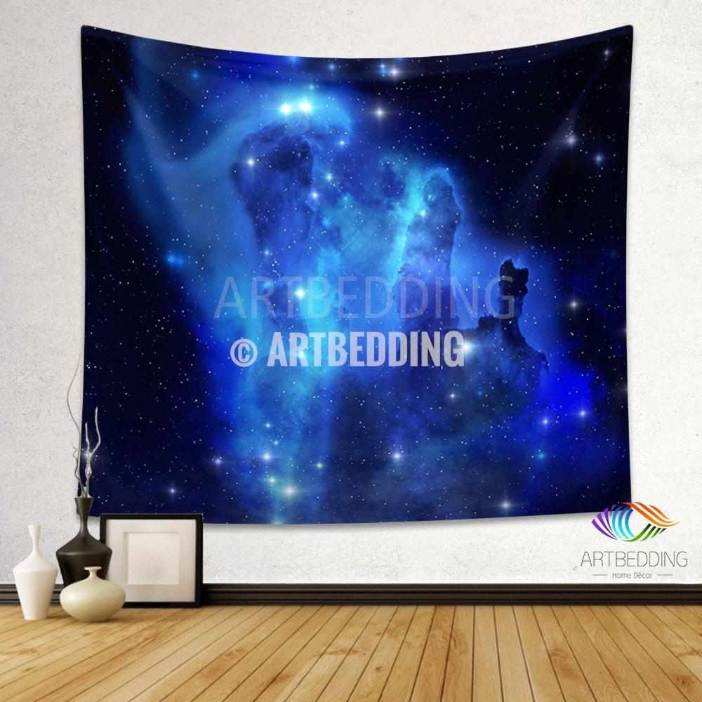 Galaxy Tapestry , Blue Eagle Nebula wall tapestry, Space tapestry wall hanging, Galaxy home decor, Cluster of stars wall art print
