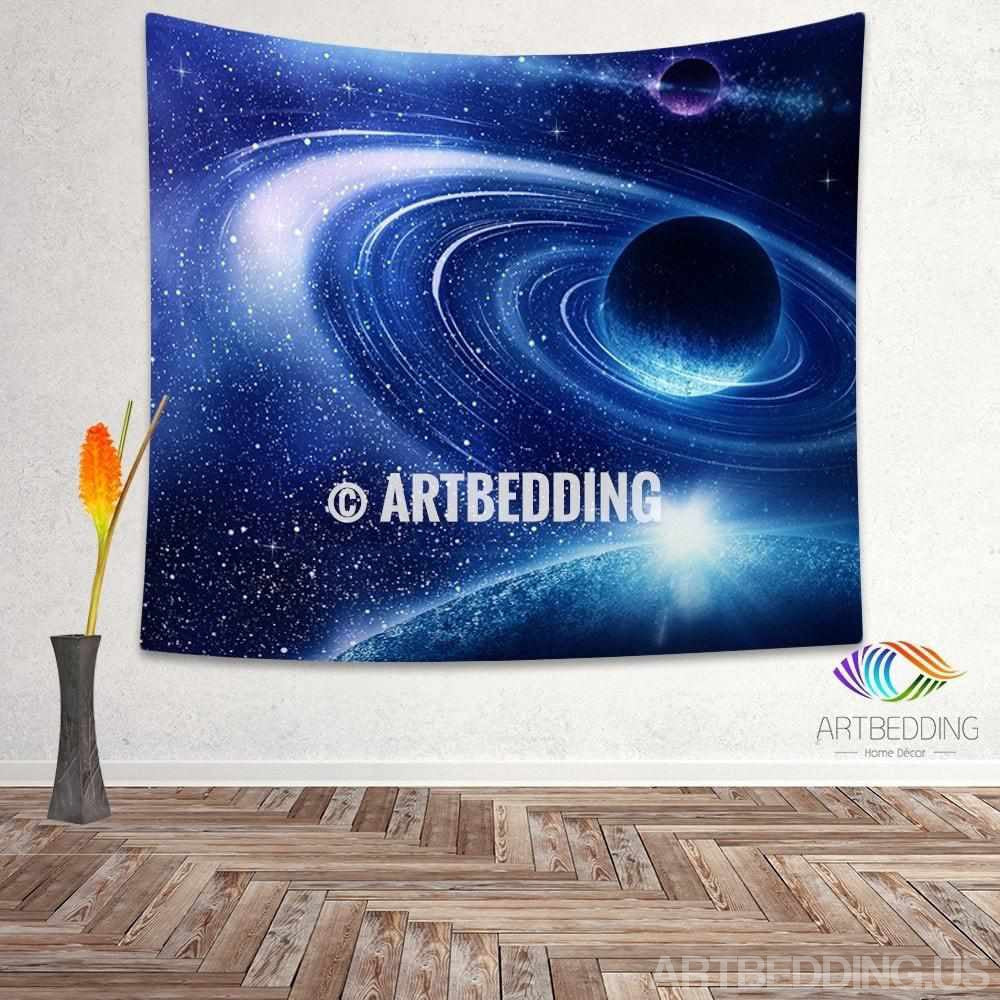 galaxy tapestry blue fantasy planet in deep space wall. Black Bedroom Furniture Sets. Home Design Ideas