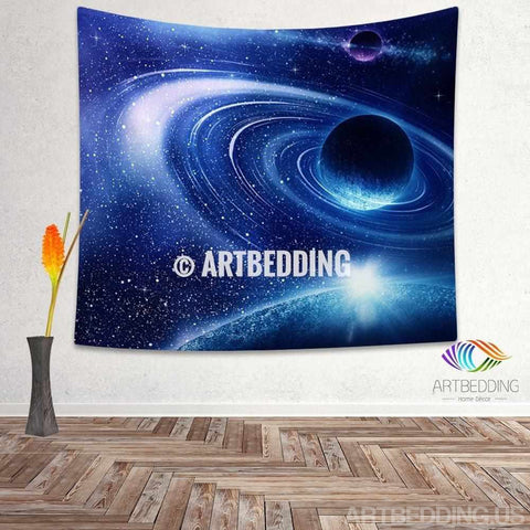 Galaxy Tapestry, Blue fantasy planet in deep space wall tapestry, Planets in space Galaxy tapestry wall hanging, Stars galaxy wall tapestries, Galaxy home decor, Space wall art print, Space wall hanging, Planets in deep space blue nebula galaxy wall art