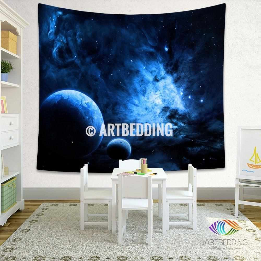 galaxy tapestry blue fantasy planets in deep space wall. Black Bedroom Furniture Sets. Home Design Ideas