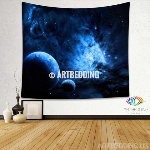 Galaxy Tapestry, Blue fantasy planets in deep space wall tapestry, Planets in space Galaxy tapestry wall hanging, Stars galaxy wall tapestries, Galaxy home decor, Space wall art print, Space wall hanging, Planets in deep space blue nebula galaxy wall art