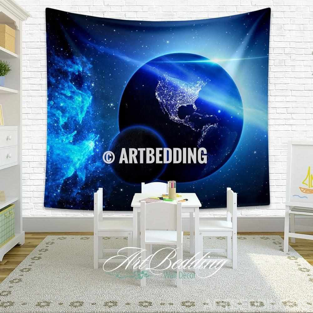 Galaxy tapestry blue planet earth deep space wall - Hanging planets decorations ...