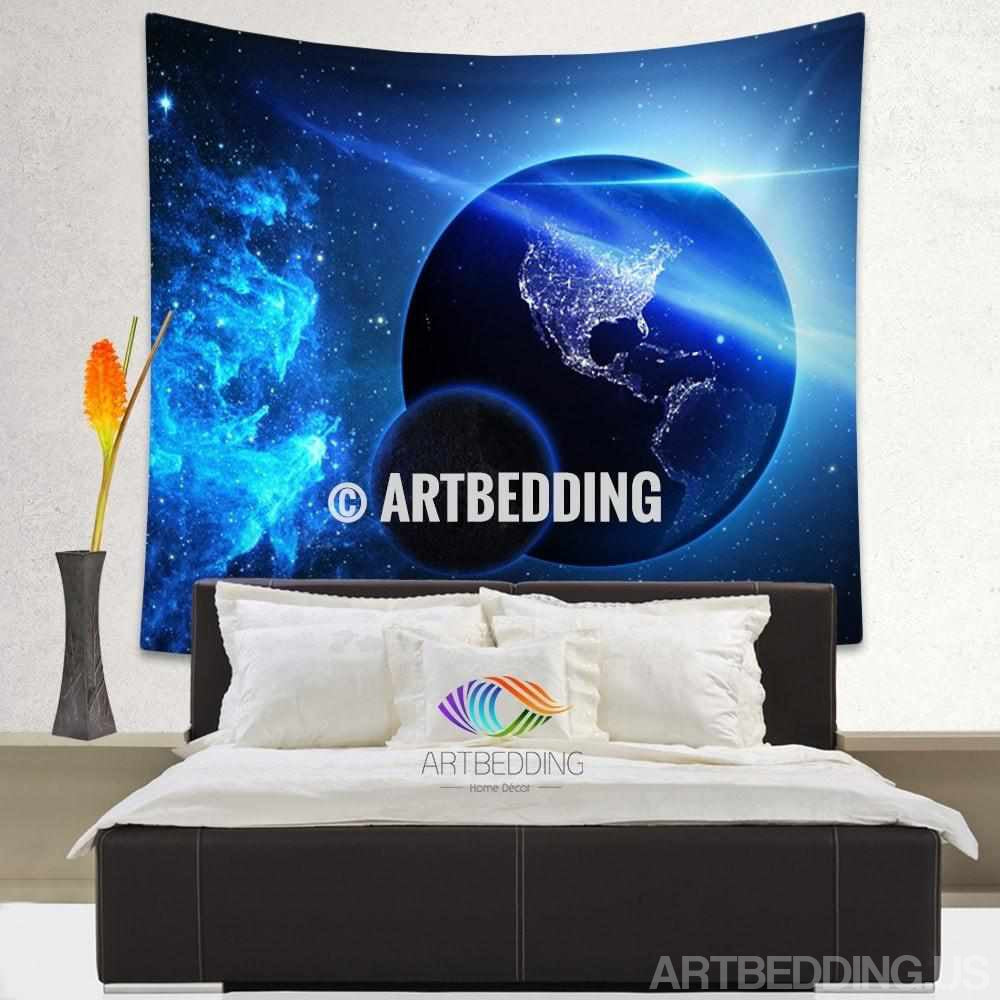 ... Blue planet Earth deep space wall tapestry, Planets in space Galaxy  tapestry