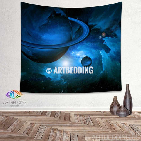 Galaxy Tapestry, Blue planets deep space fantasy wall tapestry, Planets in space Galaxy tapestry wall hanging, Stars galaxy wall tapestries, Galaxy home decor, Space wall art print, Space wall hanging, Planets in deep space blue nebula galaxy wall art