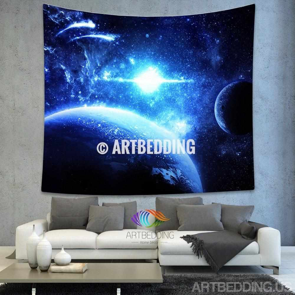 Galaxy tapestry blue planets in deep space wall tapestry - Hanging planets decorations ...