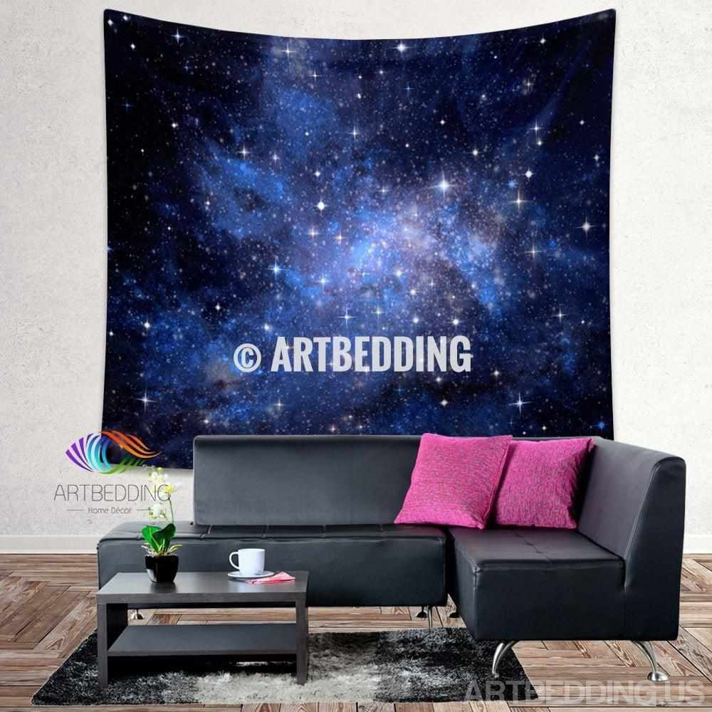 Galaxy Tapestry Blue Space Stars Nebula Wall Tapestry