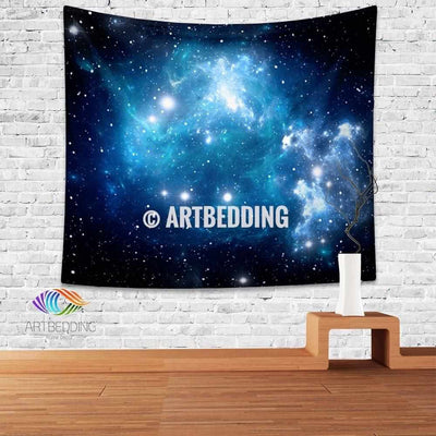 Galaxy Tapestry, Blue space with stars wall tapestry, Galaxy tapestry wall hanging, Galaxy home decor, Stars wall art print