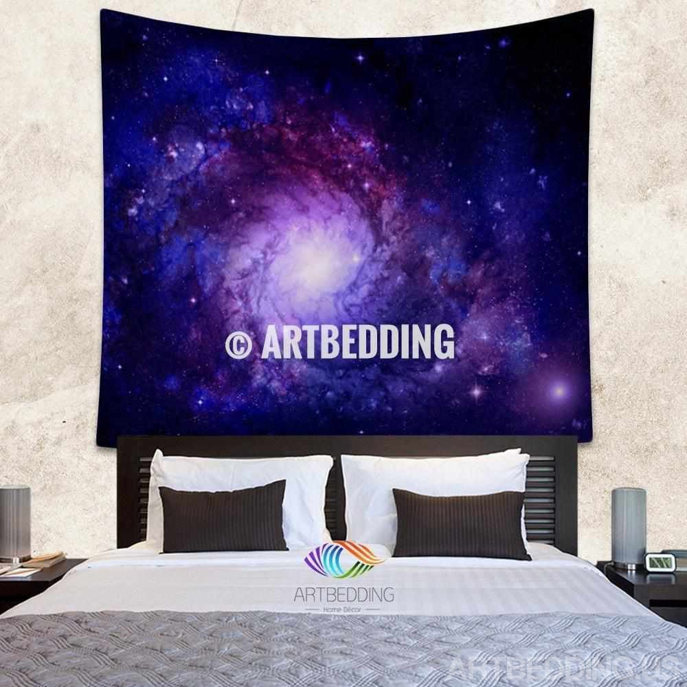 Galaxy Tapestry Blue Spiral Galaxy In Deep Space With