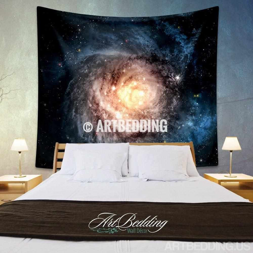 Galaxy Tapestry, Blue spiral galaxy wall tapestry, Galaxy tapestry wall hanging, Spiral galaxy wall tapestries, Galaxy home decor, Space wall art print