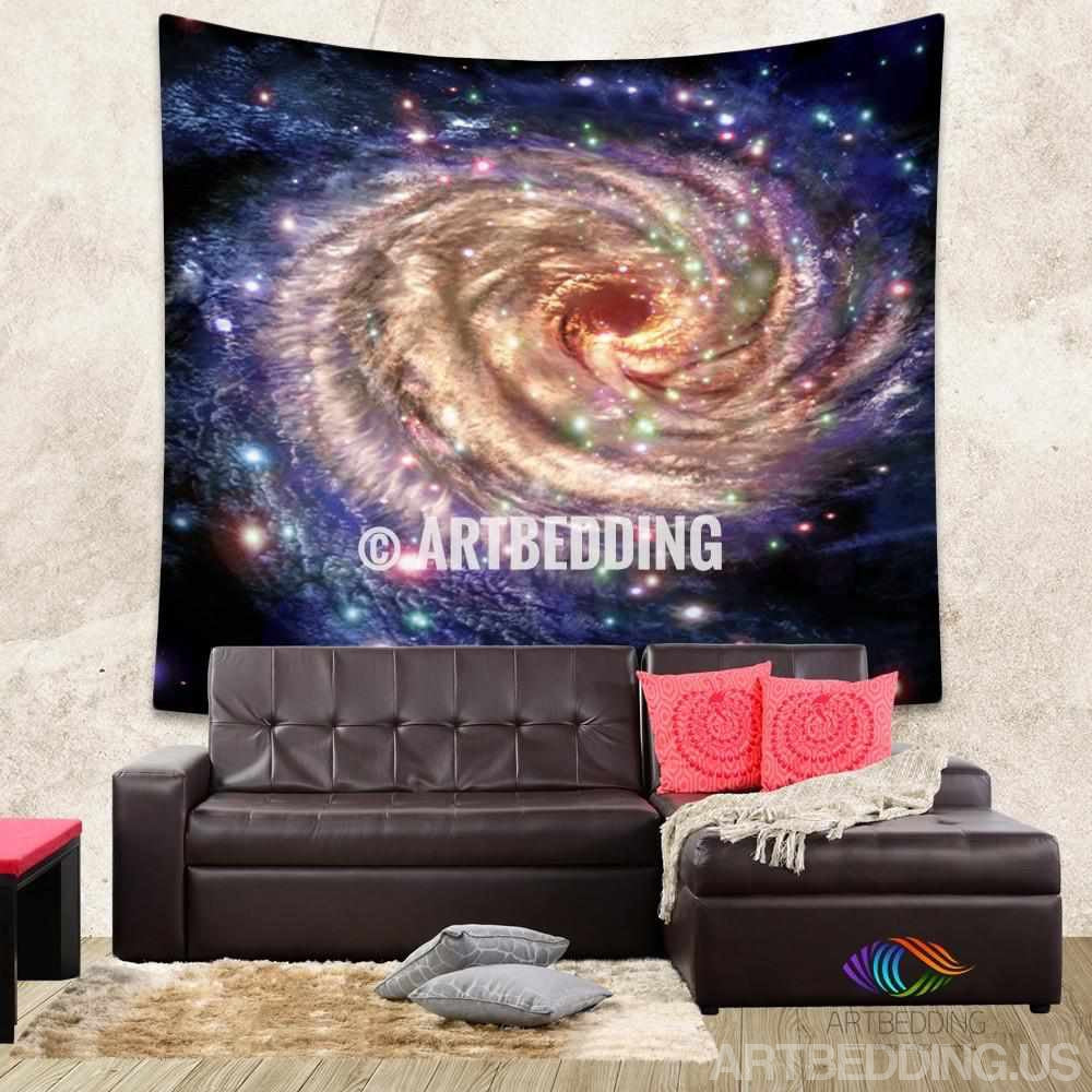 Galaxy Tapestry,Colorful Spiral galaxy in deep space with stars wall tapestry, Galaxy tapestry wall hanging, Stars galaxy wall tapestries, Galaxy home decor, Space wall art print, Space wall hanging, Multicolor space spiral galaxy wall art