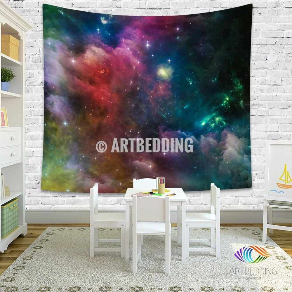 Galaxy Tapestry, Deep space wall tapestry, Multicolor nebula with stars tapestry wall hanging, Stars galaxy wall tapestries, Galaxy home decor, Space wall art print, Space wall hanging, Multicolor nebula galaxy wall art