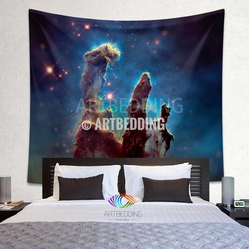 Galaxy Tapestry , Eagle Nebula wall tapestry, Space tapestry wall hanging, Galaxy home decor, Cluster of stars wall art print