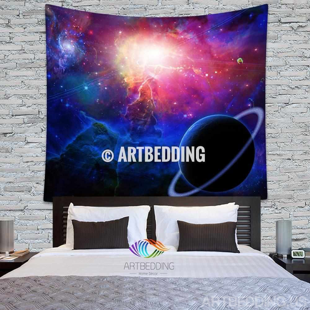 Galaxy Tapestry, Fantasy birth of a new world wall tapestry, Nebula and spyral galaxy tapestry wall hanging, Stars galaxy wall tapestries, Galaxy home decor, Space wall art print, Space wall hanging, Planets in deep space nebula paint galaxy wall art