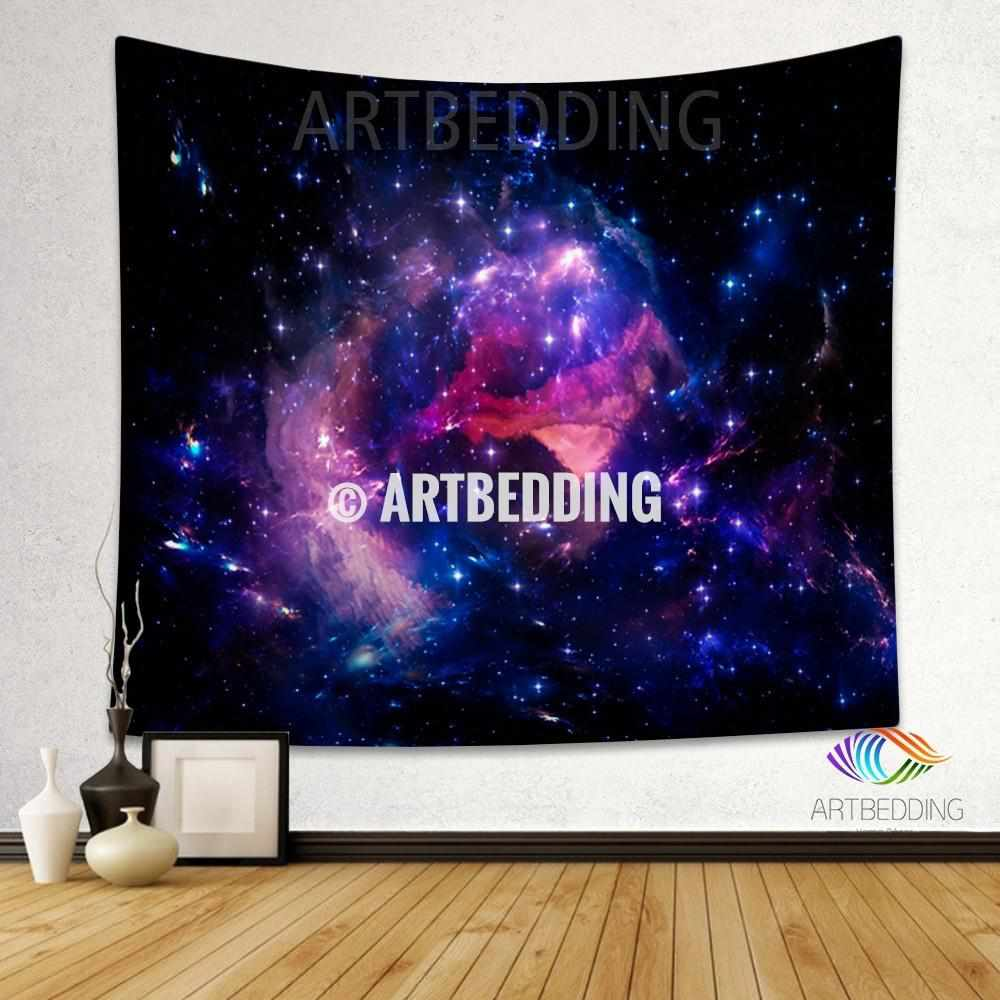 Galaxy Tapestry, Fantasy blue purple nebula wall tapestry, Nebula tapestry wall hanging,  Space home decor, Stars wall art print