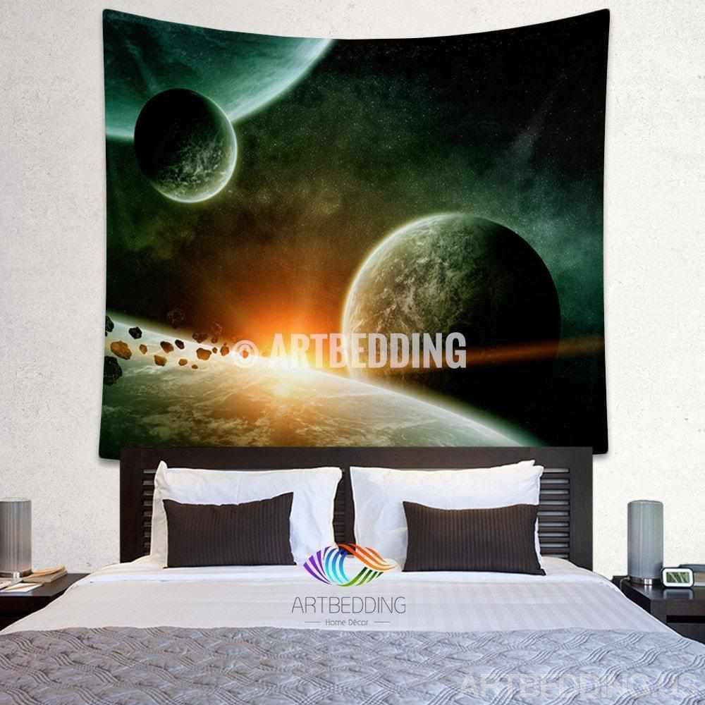 Galaxy Tapestry , Fantasy planet space wall tapestry, Space tapestry wall hanging, Galaxy home decor