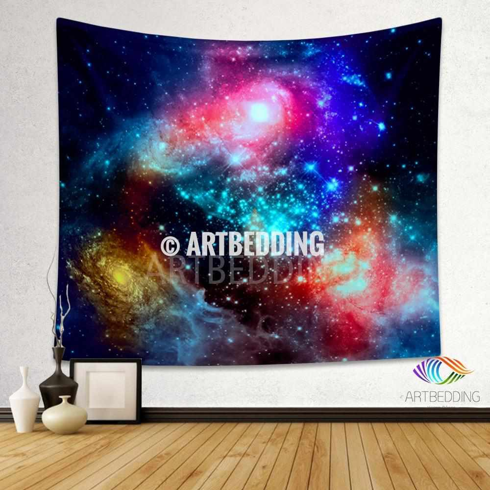 Galaxy Tapestry, Fantasy space wall tapestry, Nebula tapestry wall hanging, Galaxy home decor, Stars wall art print