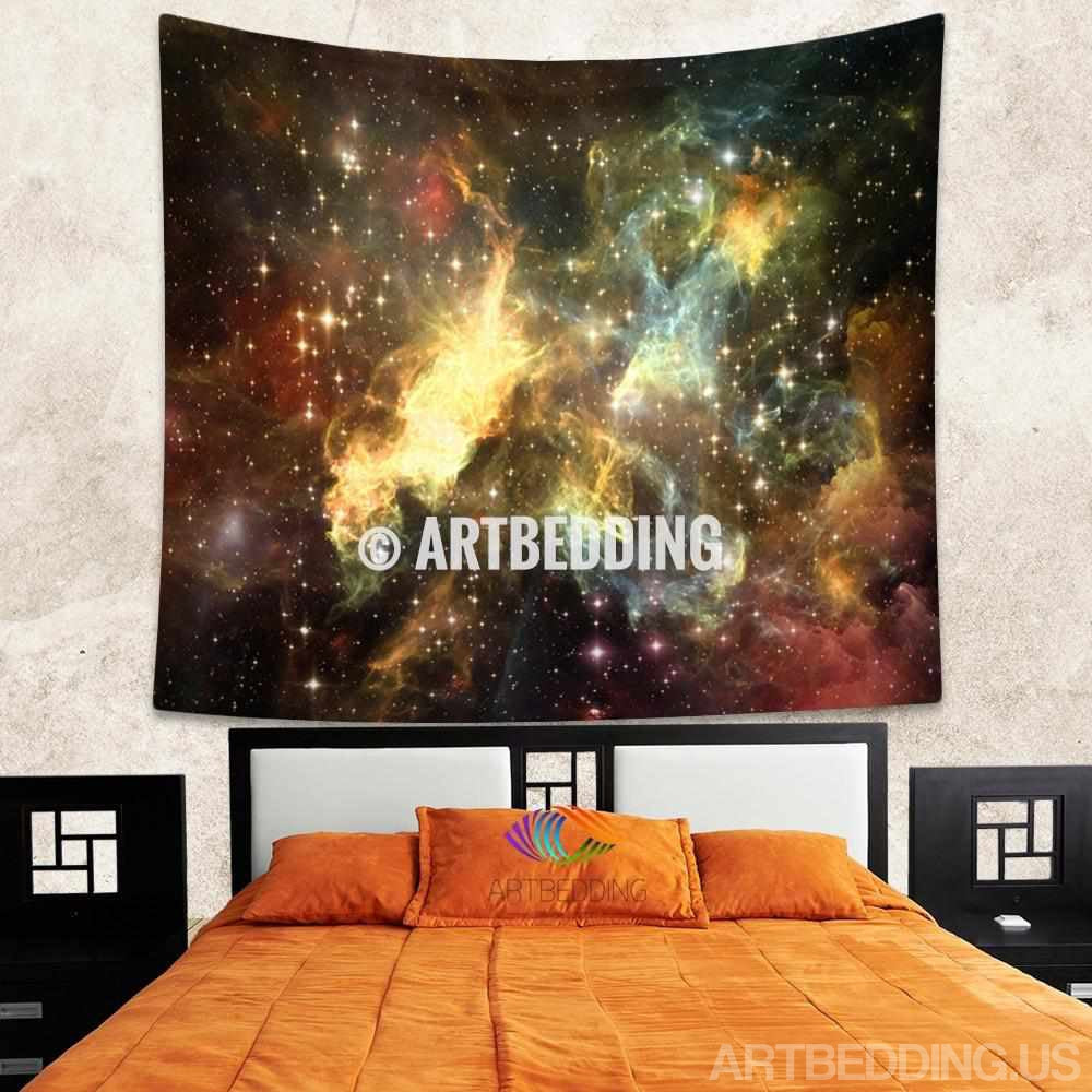 Galaxy Tapestry,Golden Cosmos series nebula with stars wall tapestry, Galaxy tapestry wall hanging, Stars galaxy wall tapestries, Galaxy home decor, Space wall art print, Space wall hanging, Space multicolor nebula galaxy wall art