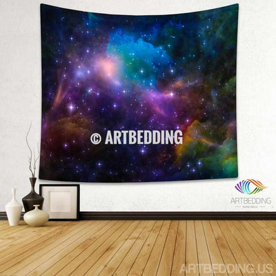 Galaxy Tapestry, Multicolor 3D Cosmos series nebula with stars wall tapestry, Galaxy tapestry wall hanging, Stars galaxy wall tapestries, Galaxy home decor, Space wall art print, Space wall hanging, Space multicolor nebula galaxy wall art