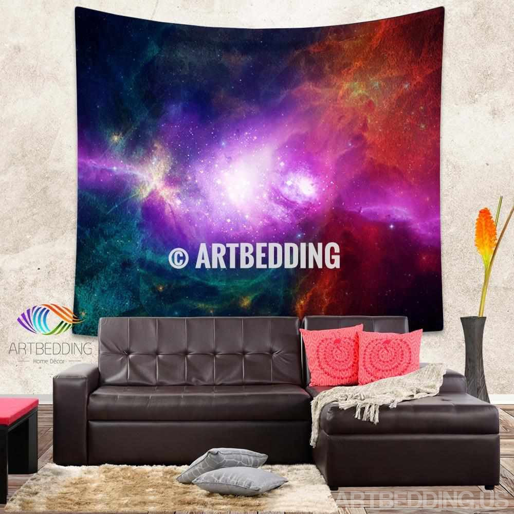 galaxy tapestry multicolor deep space nebula wall. Black Bedroom Furniture Sets. Home Design Ideas