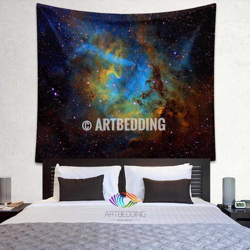 Galaxy Tapestry , Nebula wall tapestry, Space tapestry wall hanging, Galaxy home decor, Cluster of stars wall art print
