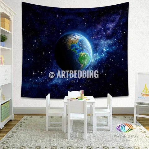 Galaxy Tapestry , Planet Earth from space wall tapestry, Space tapestry wall hanging, Galaxy home decor, Earth wall art print