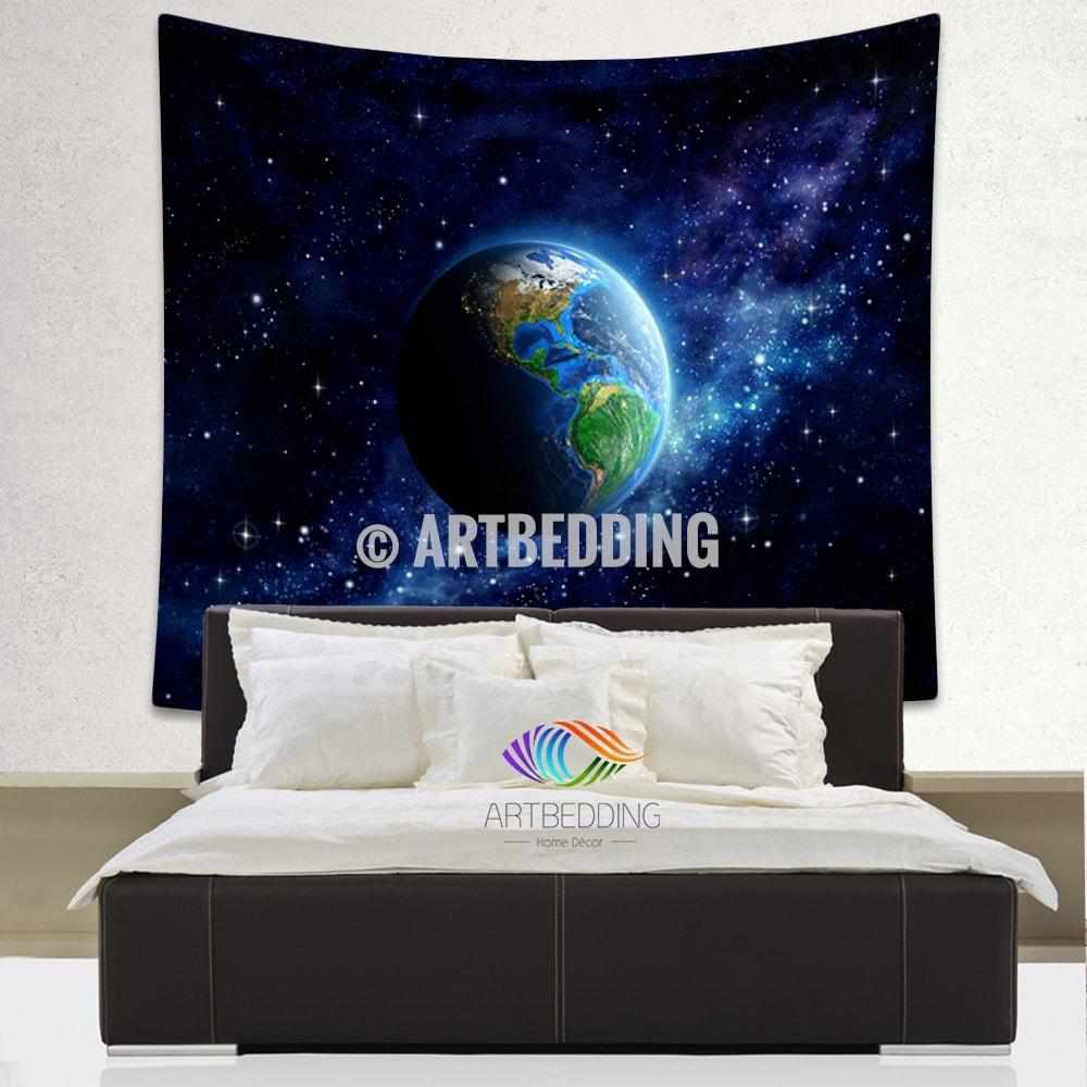 Galaxy Tapestry Planet Earth From Space Wall Tapestry