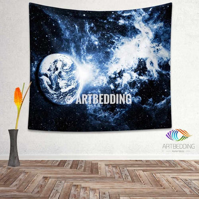 Galaxy Tapestry, Planet Earth wall tapestry, Space tapestry wall hanging, Galaxy home decor, Space wall art print