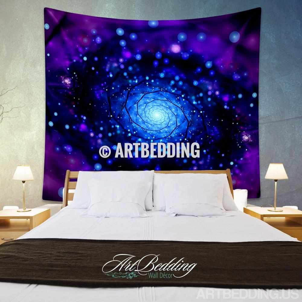 Galaxy Tapestry, Purple spiral galaxy wall tapestry, Galaxy tapestry wall hanging, Spiral galaxy wall tapestries, Galaxy home decor, Space wall art print