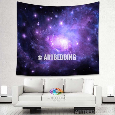 Galaxy Tapestry, Purple spiral galaxy wall tapestry, Purple Galaxy tapestry wall hanging, Spiral galaxy with stars wall tapestries, Galaxy home decor, Space wall art print