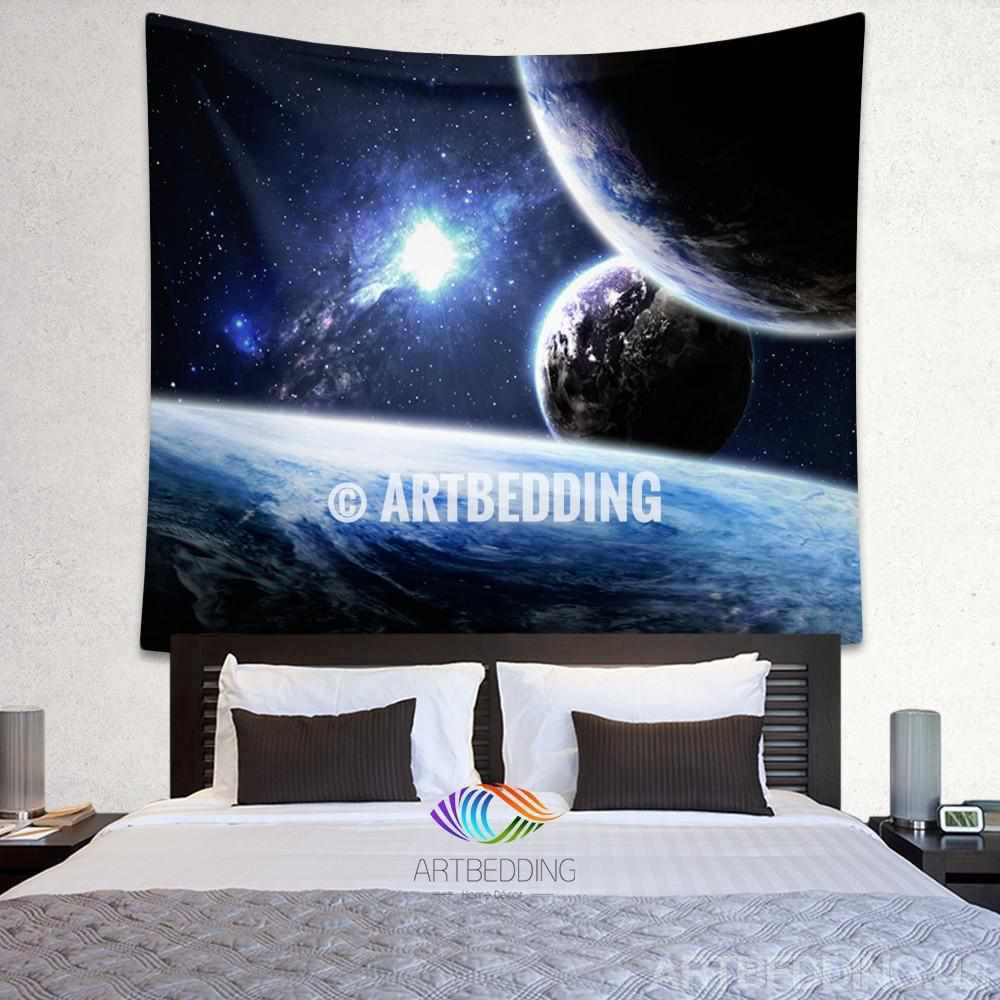 Galaxy Tapestry, Space wall tapestry, Galaxy tapestry wall hanging, Galaxy home decor, Earth wall art print