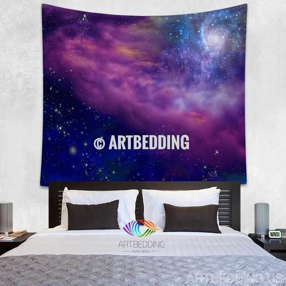 galaxy tapestry spiral galaxy on a blue and purple deep. Black Bedroom Furniture Sets. Home Design Ideas