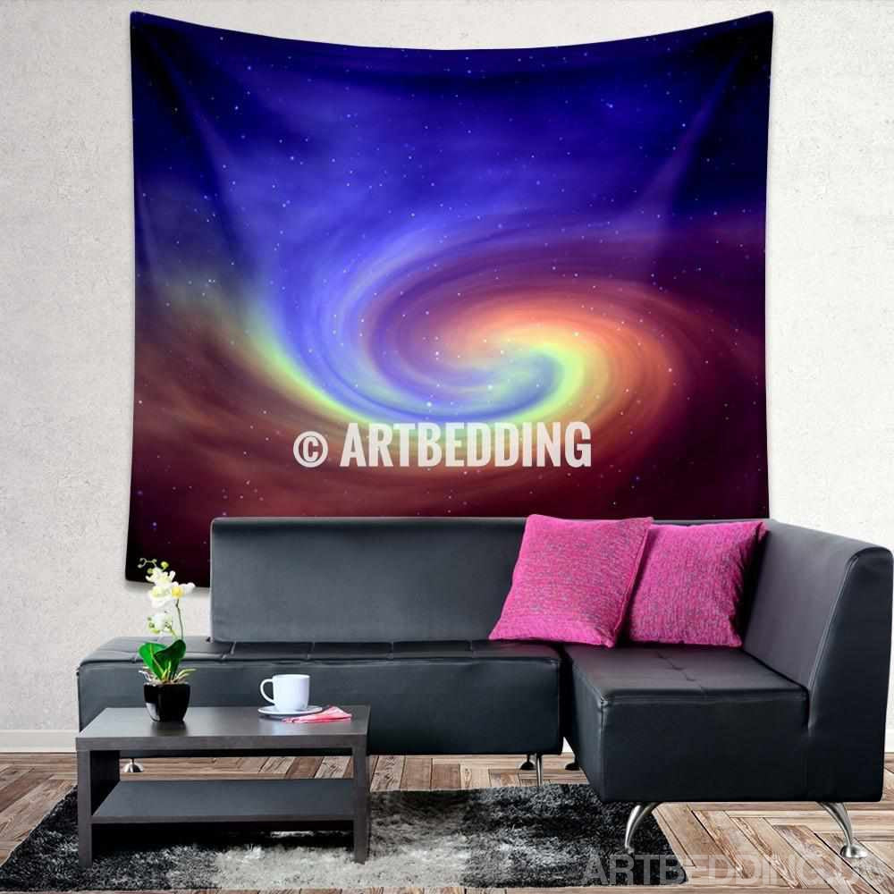 Galaxy Tapestry Spiral Galaxy With Stars Wall Tapestry