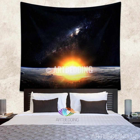 Galaxy Tapestry , Sunrise over Earth wall tapestry, Space tapestry wall hanging, Galaxy home decor, Earth wall art print