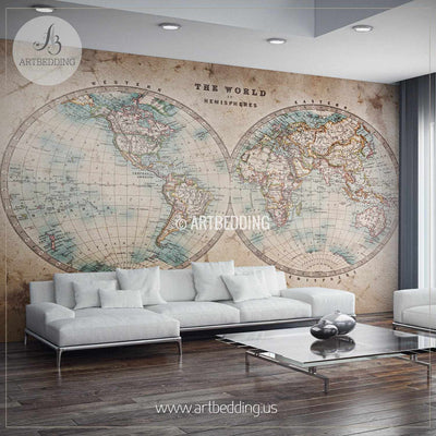 Genuine stained world map from mid 1800's Hemisphere Wall Mural, Self Adhesive Peel & Stick Photo Mural, Atlas wall mural, mural home decor wall mural