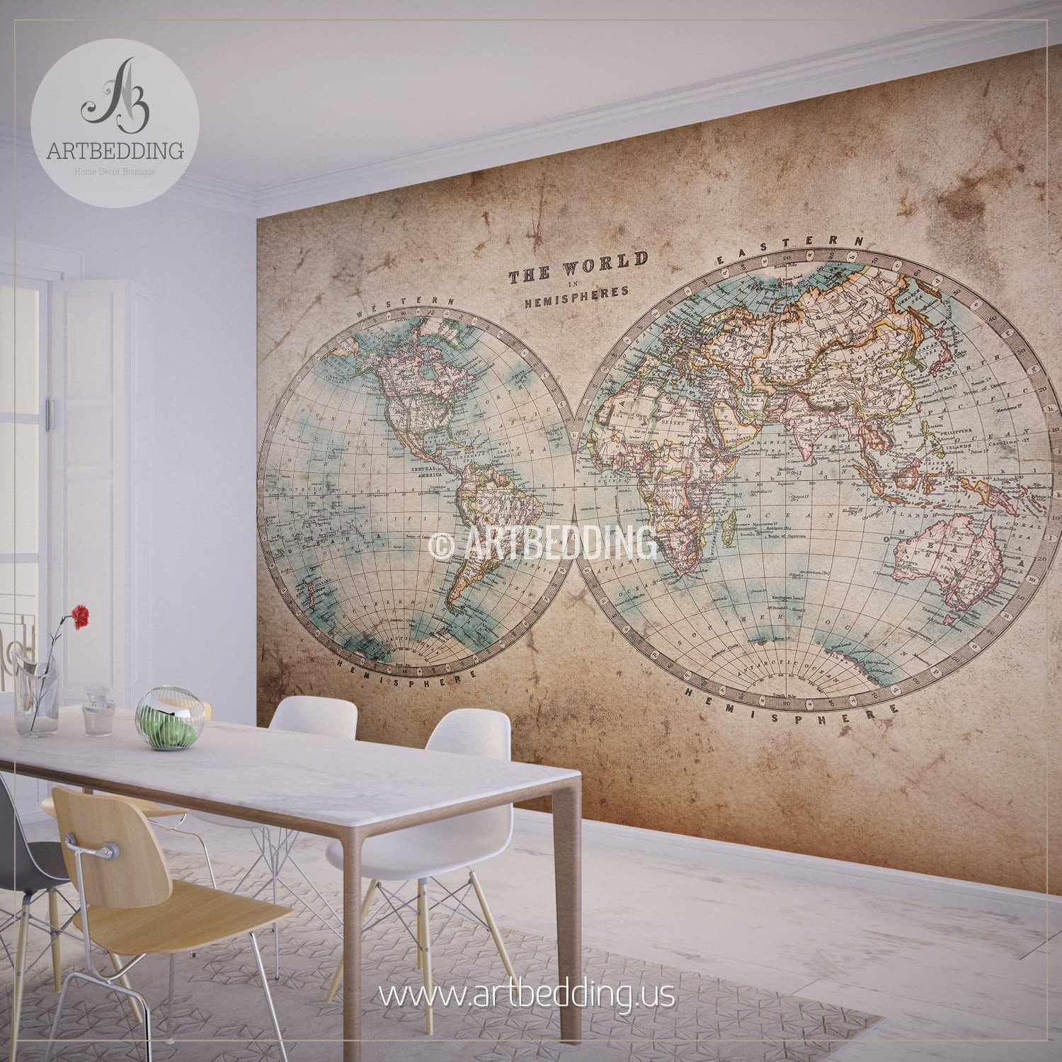Vintage map wall mural self adhesive photo mural artbedding genuine stained world map from mid 1800s hemisphere wall mural self adhesive peel stick gumiabroncs Image collections