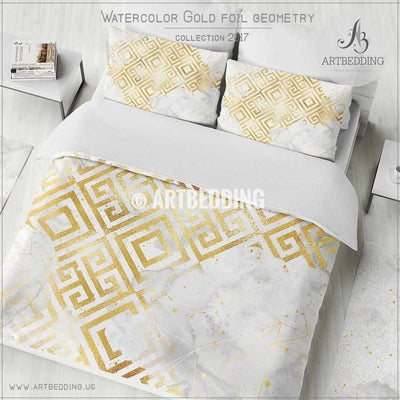 Gold foil geometry watercolor Duvet cover, Delicate white watercolor texture with gold foil splashes and geometry pattern duvet cover, artbedding duvet cover