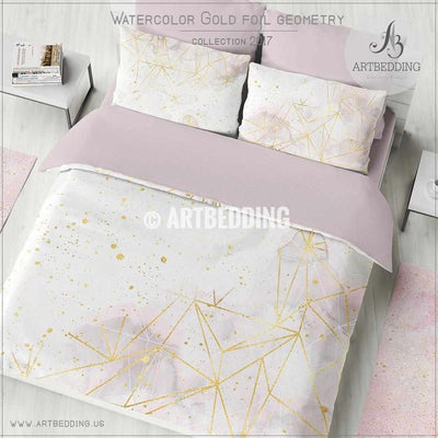 Gold geometry Duvet cover,  Delicate light pink and gray handpainted watercolor texture with gold foil geometry pattern duvet cover, artbedding duvet cover