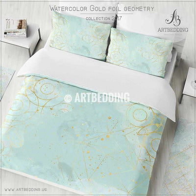 Gold geometry Duvet cover,  Delicate sky blue handpainted watercolor texture with gold foil circle geometry pattern duvet cover, artbedding duvet cover