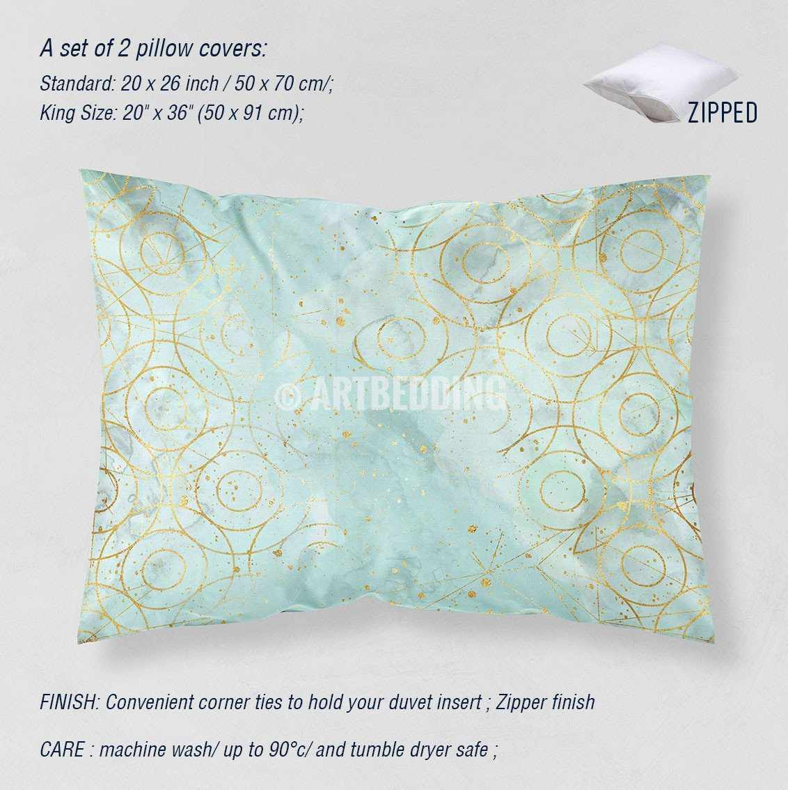 Gold Geometry Duvet Cover Sky Blue Watercolor Gold Circle